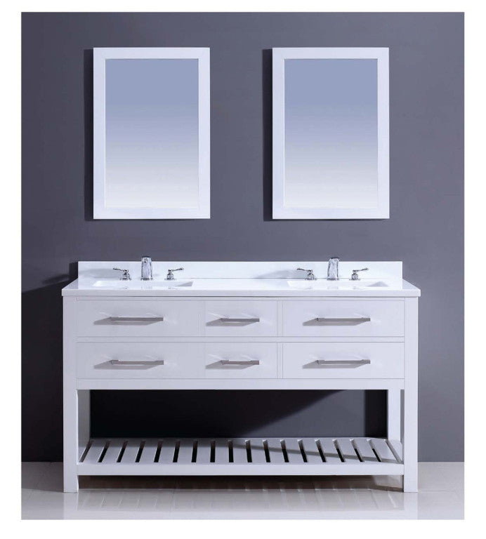 "Dawn 60"" Boehemian Vanity Double Sink & White Quartz Top & Mirror AAPS6001 - Farmhouse Kitchen and Bath"