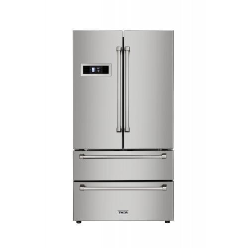 THOR Stainless Steel French Door Refrigerator, HRF3601F - Farmhouse Kitchen and Bath