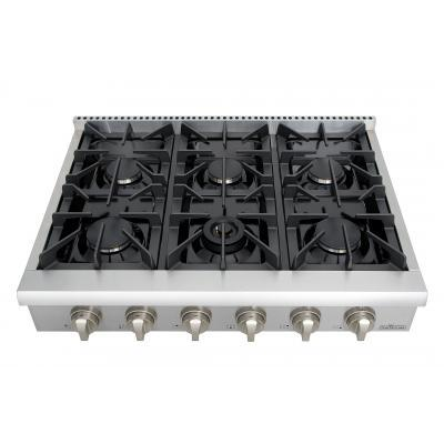 "THOR Professional 36"" - 6 Burner Rangetop in Stainless Steel, HRT3618U - Farmhouse Kitchen and Bath"