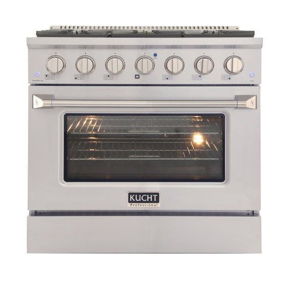 "Kucht 36"" Gas Range, Stainless Steel with Silver Oven Door, KNG361U-S"
