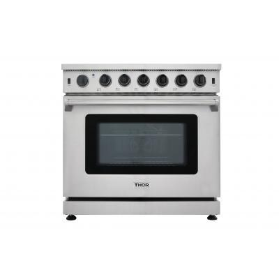 "THOR 36"" Professional Gas Range in Stainless Steel, LRG3601U - Farmhouse Kitchen and Bath"
