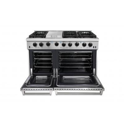 "Thor 48"" Professional Gas Range in Stainless Steel, LRG4807U - Farmhouse Kitchen and Bath"