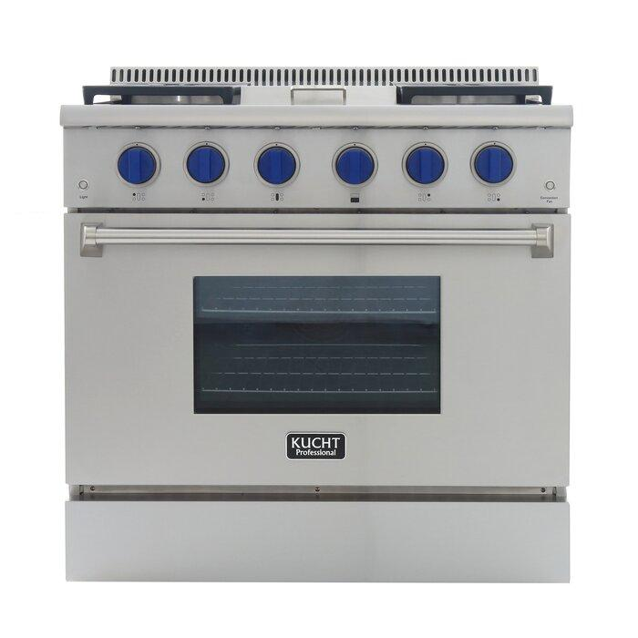"Kucht 36"" Pro Stainless Propane Range, Griddle, Blue Knobs KRG3609U/LP-B - Farmhouse Kitchen and Bath"