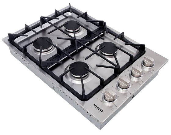 "THOR 30"" Gas Cooktop, 4 Burners in Stainless Steel, TGC3001"