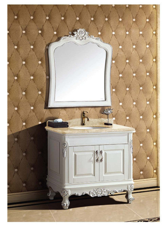 "Dawn 34"" Traditional Vanity with Single Ceramic Sink UN391099-01 - Farmhouse Kitchen and Bath"