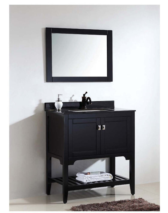 "Dawn 32"" American Vanity Cabinet Single Ceramic Sink Top & Mirror UN9806-06 - Farmhouse Kitchen and Bath"