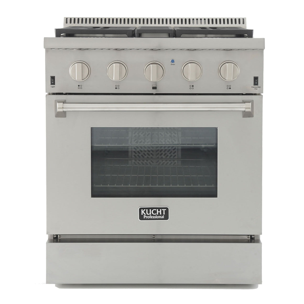 "Kucht 30"" Pro Stainless Gas Range, 4.2 cu ft, Stainless Knobs KRG3080U - Farmhouse Kitchen and Bath"