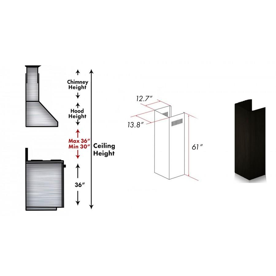 "ZLINE 61"" Wooden Chimney Extension for Ceilings up to 12.5', 373AA-E - Farmhouse Kitchen and Bath"