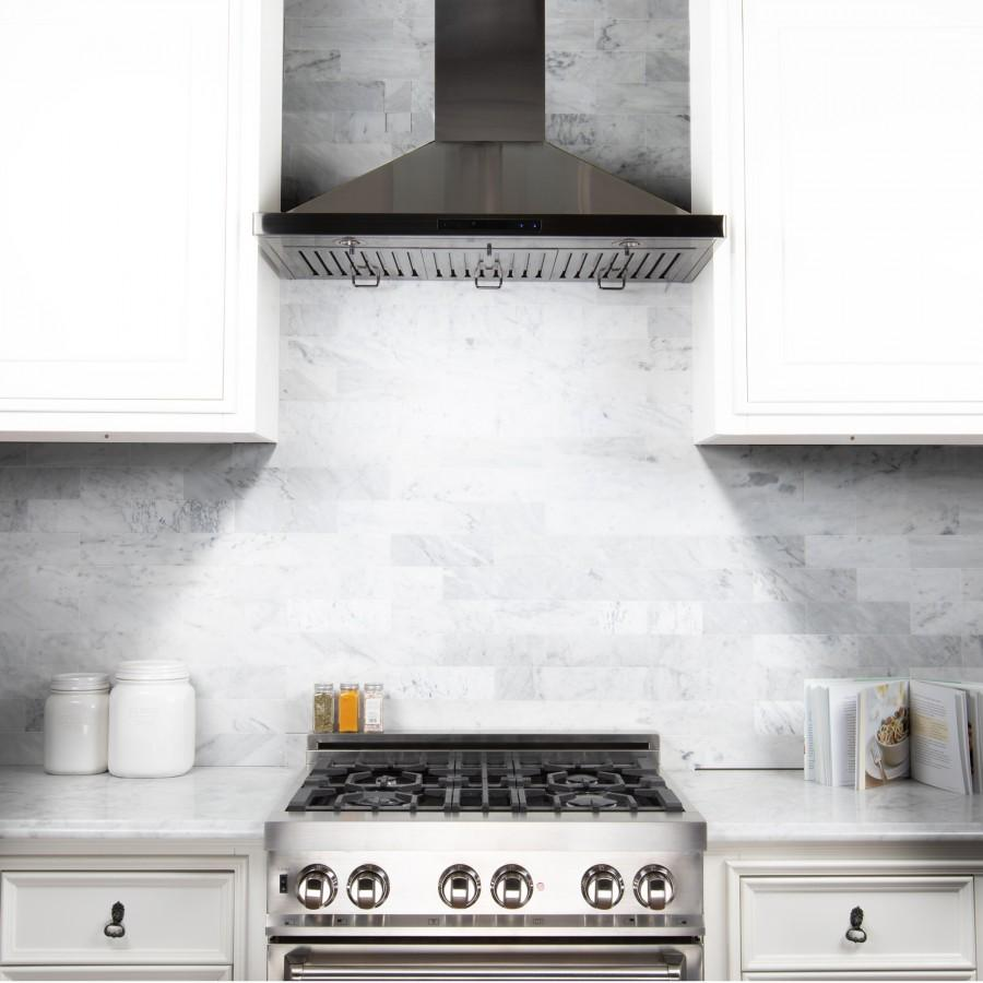"ZLINE 30"" Wall Range Hood in Black Stainless Steel, BSKBN-30 - Farmhouse Kitchen and Bath"