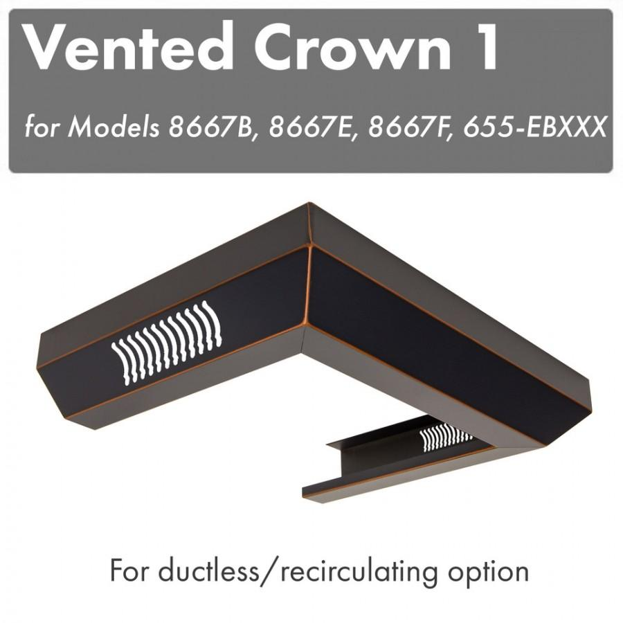 ZLINE Vented Crown Molding for Wall Range Hood, CM1V-8667B - Farmhouse Kitchen and Bath