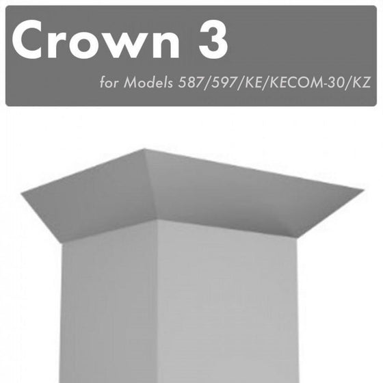 ZLINE Crown Molding #3 for Wall Range Hood, CM3-587/597/KE/KECOM-30/KZ - Farmhouse Kitchen and Bath