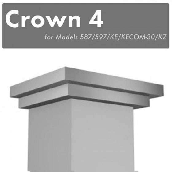 ZLINE Crown Molding #4 for Wall Range Hood, CM4-587/597/KE/KECOM-30/KZ - Farmhouse Kitchen and Bath