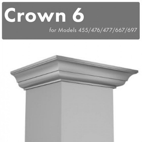 Crown Molding 6 Wall Range Hood Stainless, CM6-455/476/477/667/697 - Farmhouse Kitchen and Bath