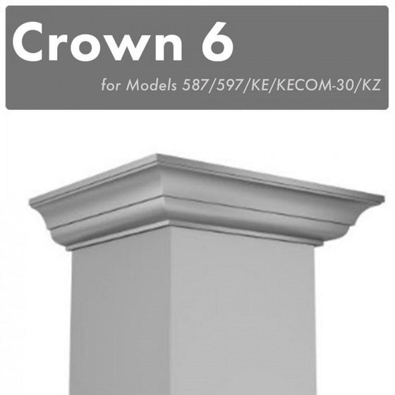 Crown Molding 6 Wall Range Hood Stainless, CM6-587/597/KE/KECOM-30/KZ - Farmhouse Kitchen and Bath