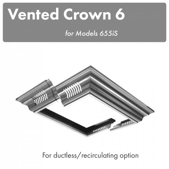 ZLINE Vented Crown Molding Profile 6 for Island Range Hood, CM6V-655iS - Farmhouse Kitchen and Bath