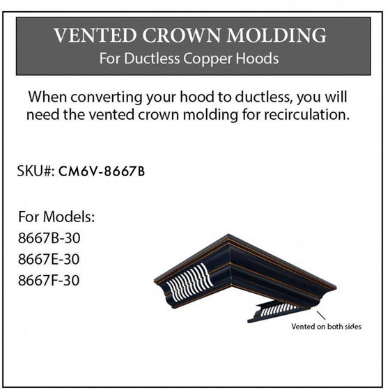 ZLINE Vented Crown Molding w/Recirculating Option, CM6V-8667B - Farmhouse Kitchen and Bath