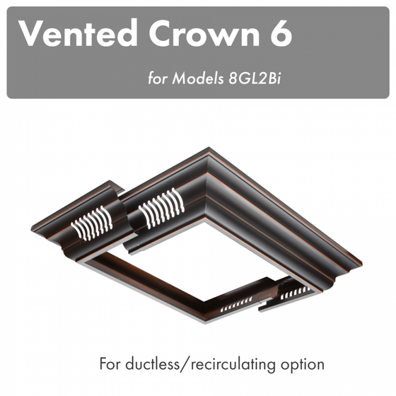 ZLINE Vented Crown Molding Profile 6 for Island Range Hood, CM6V-8GL2Bi - Farmhouse Kitchen and Bath