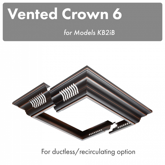 ZLINE Vented Crown Molding Profile 6 for Island Range Hood, CM6V-KB2iB - Farmhouse Kitchen and Bath