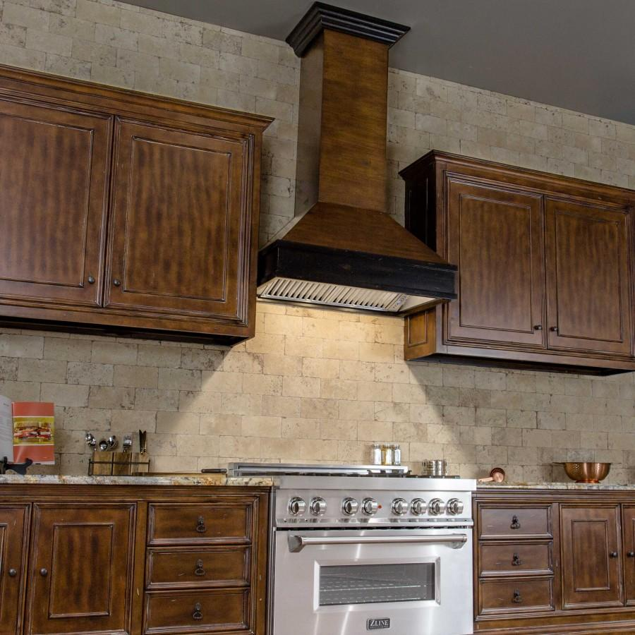 "ZLINE 36"" Wooden Wall Range Hood, Crown Molding 329AH-36 - Farmhouse Kitchen and Bath"