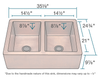 "Polaris Equal Double Bowl Copper 35"" Farmhouse Apron Sink P219 - Farmhouse Kitchen and Bath"