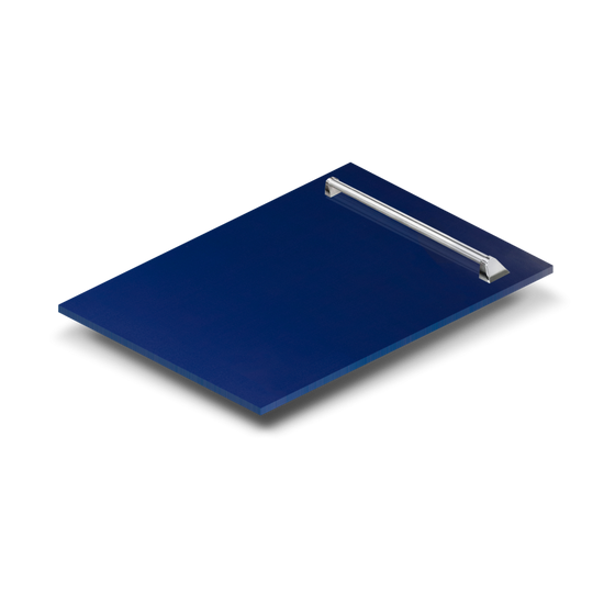 "24"" Dishwasher Panel in Blue Gloss with Traditional Handle , DP-BG-24 - Farmhouse Kitchen and Bath"