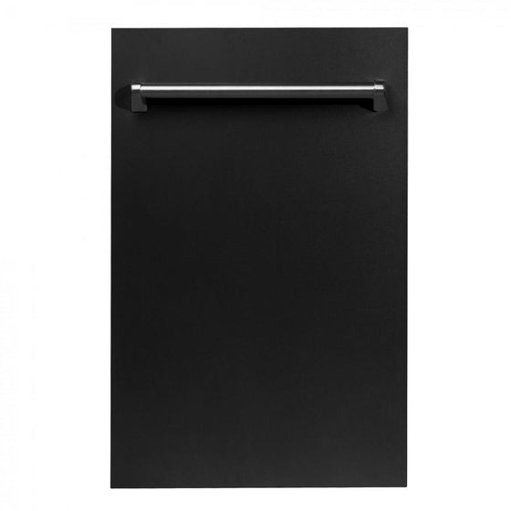 "ZLINE 18"" Dishwasher in Black Matte, Traditional Handle, DW-BLM-18 - Farmhouse Kitchen and Bath"