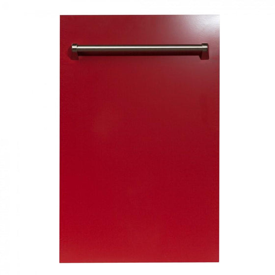 "ZLINE 18"" Dishwasher in Red Gloss, Stainless tub, Traditional Handle, DW-RG-18 - Farmhouse Kitchen and Bath"