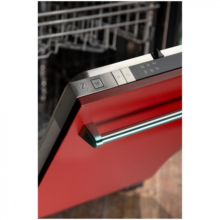 "ZLINE 18"" Dishwasher in Red Matte Stainless Tub, Traditional Handle, DW-RM-18 - Farmhouse Kitchen and Bath"