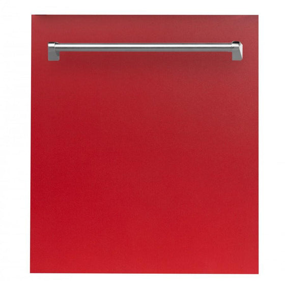 "ZLINE 24"" Dishwasher in Red Matte, Stainless Tub, Traditional Handle, DW-RM-24 - Farmhouse Kitchen and Bath"