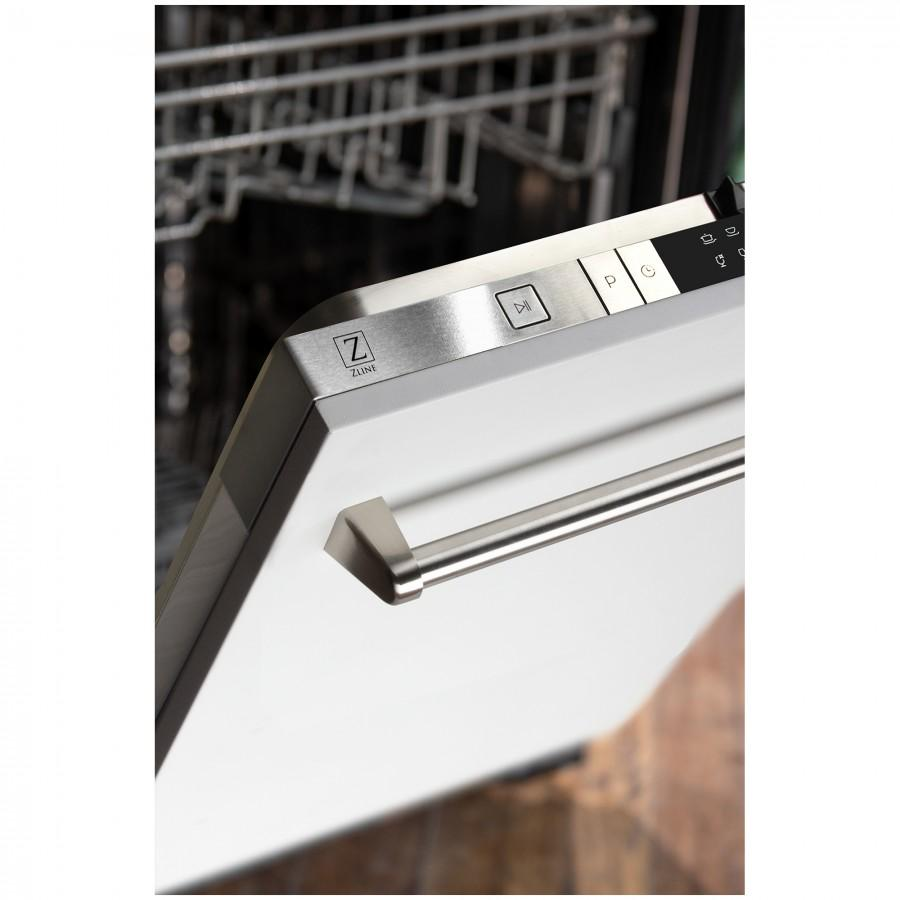 "ZLINE 24"" Dishwasher in White Matte, Traditional Handle, DW-WM-24 - Farmhouse Kitchen and Bath"