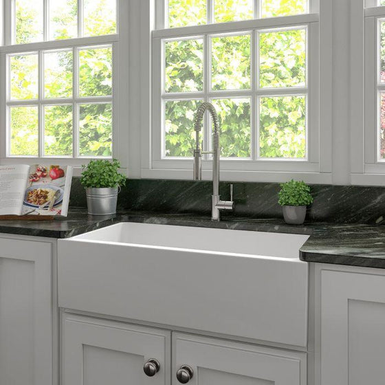 "ZLINE 36"" Fireclay Apron Sink, White Matt, FRC5122-WM-36 - Farmhouse Kitchen and Bath"