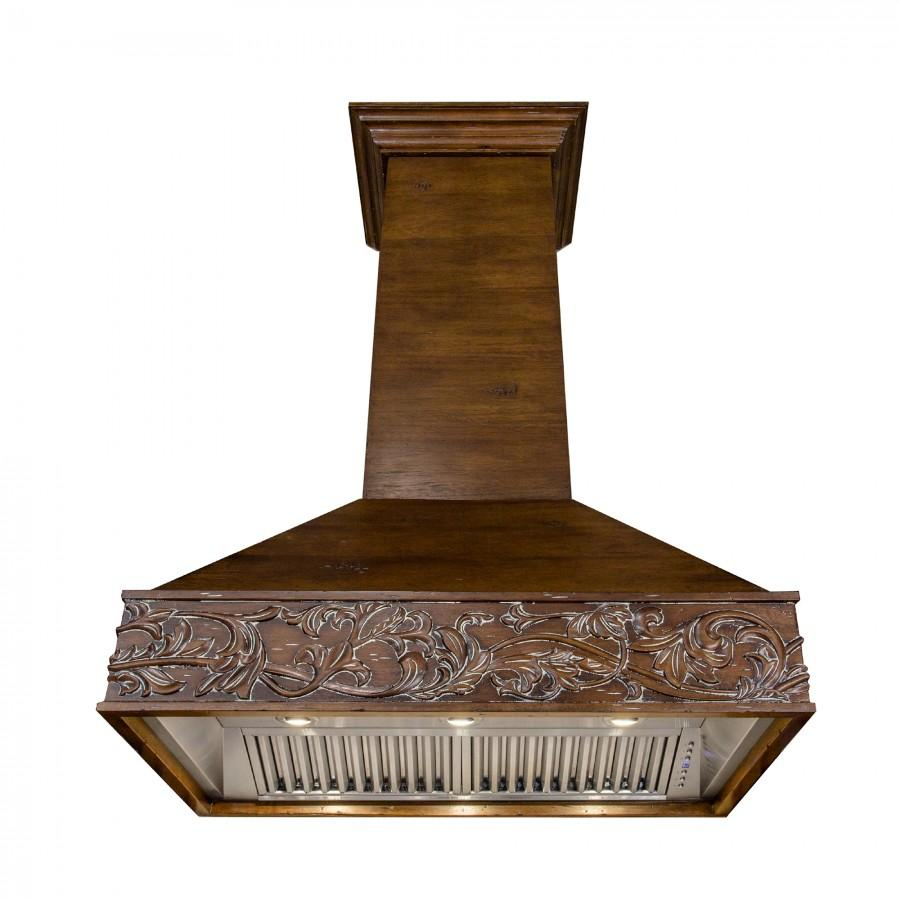 "ZLINE 42"" Wooden Wall Range Hood, Crown Molding 373RR-42 - Farmhouse Kitchen and Bath"