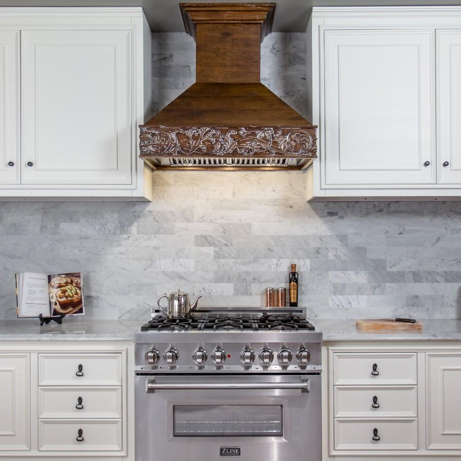 "ZLINE 36"" Wooden Wall Range Hood, Crown Molding 373RR-36 - Farmhouse Kitchen and Bath"