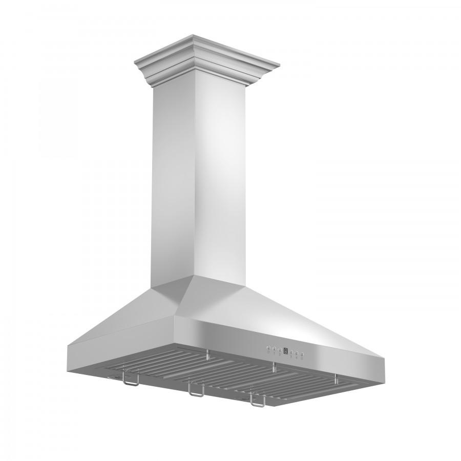 "ZLINE 36"" Stainless Steel Wall Range Hood, Crown Molding, KL3CRN-36 - Farmhouse Kitchen and Bath"