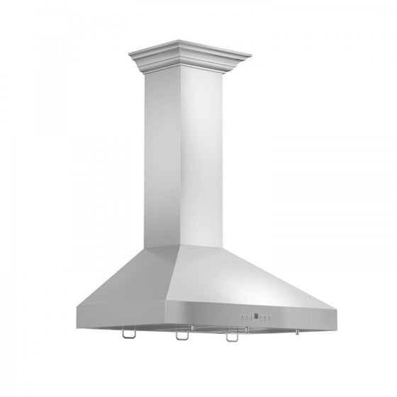 "ZLINE 48"" Stainless Steel Wall Range Hood, Crown Molding, KL3CRN-48 - Farmhouse Kitchen and Bath"