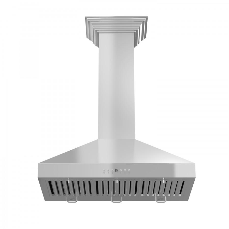 "ZLINE 30"" Stainless Steel Wall Range Hood, Crown Molding, KL3CRN-30 - Farmhouse Kitchen and Bath"