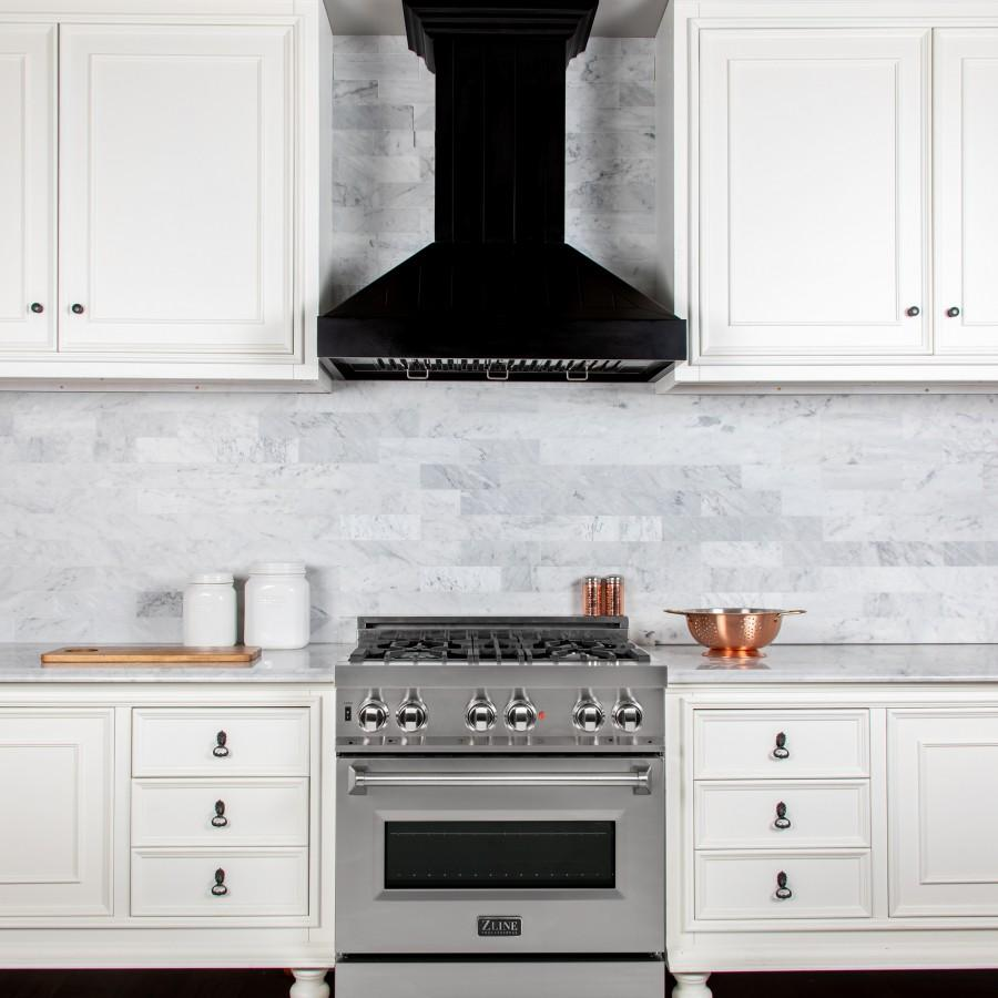 "ZLINE 30"" Wooden Wall Range Hood in Black - KPCC-30 - Farmhouse Kitchen and Bath"