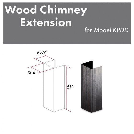 "ZLINE 61"" Wooden Chimney Extension, Ceilings up to 12 ft. (KPDD-E) - Farmhouse Kitchen and Bath"