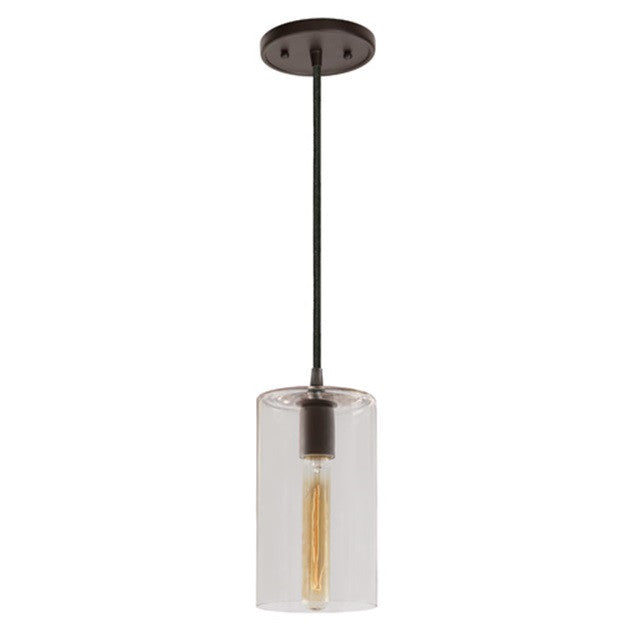 "JVI Designs 1 Light Grand Central Pendant 5""Clear Cylinder, 1300 G5 - Farmhouse Kitchen and Bath"