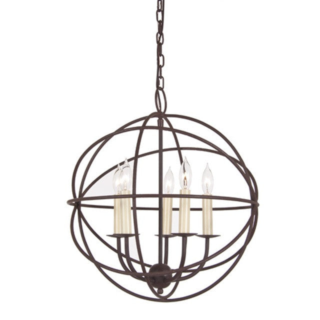 JVI Designs 5 Light Globe Chandelier, 3032 - Farmhouse Kitchen and Bath