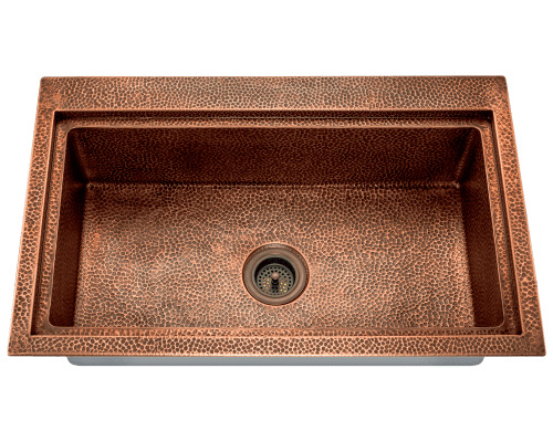"Polaris 32"" Single Bowl Dual Mount Copper Sink P519 - Farmhouse Kitchen and Bath"