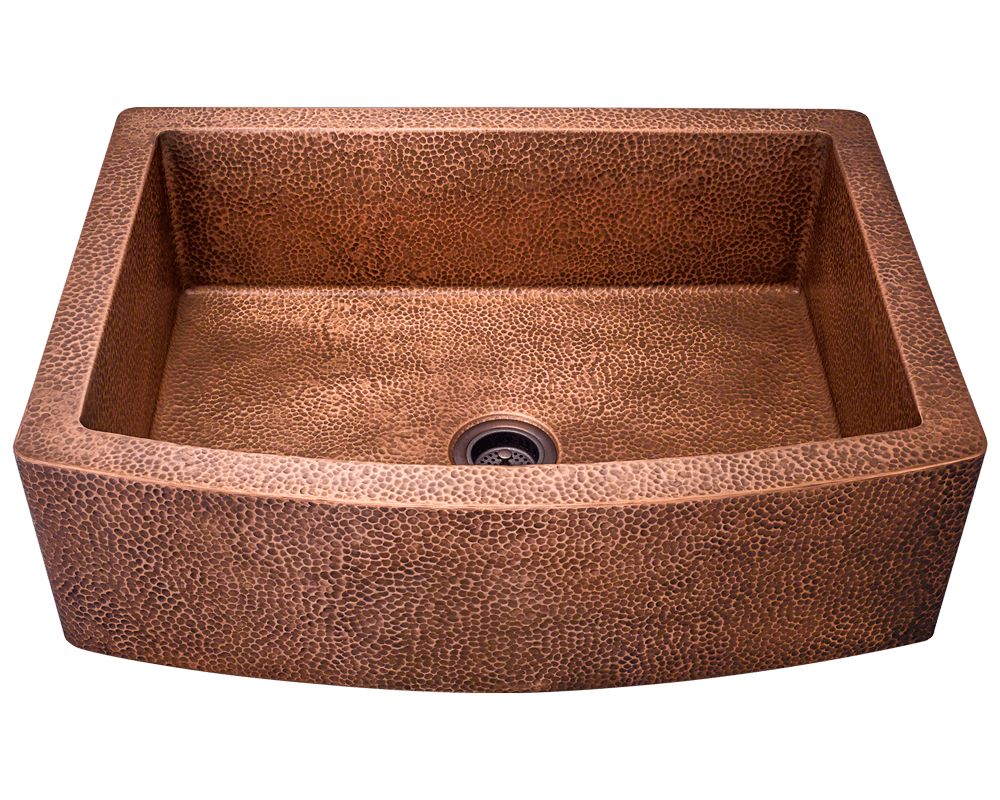 "Polaris 33"" Single Bowl Rounded Copper Apron Farmhouse Sink P419 - Farmhouse Kitchen and Bath"