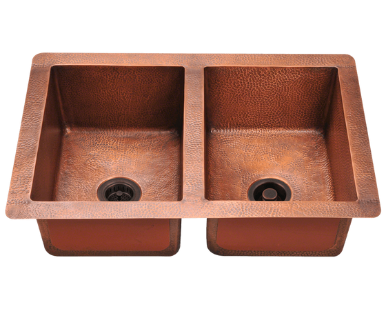 "Polaris Equal Double Bowl Copper 33"" P209 - Farmhouse Kitchen and Bath"