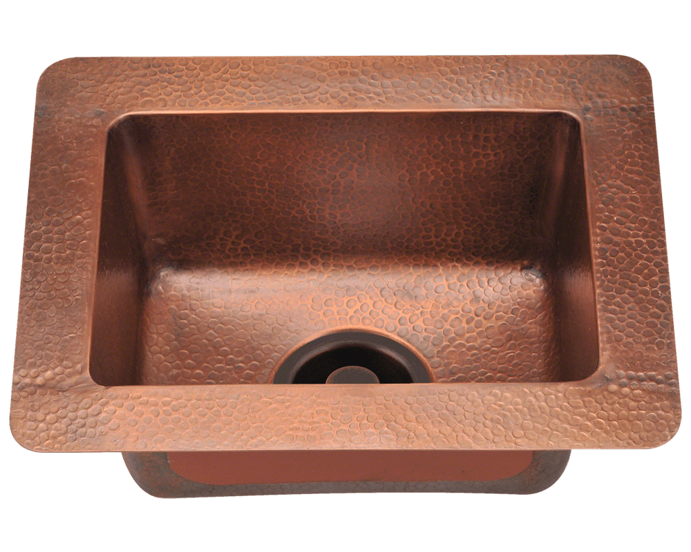 Polaris Small Single Bowl Copper Sink P509 - Farmhouse Kitchen and Bath