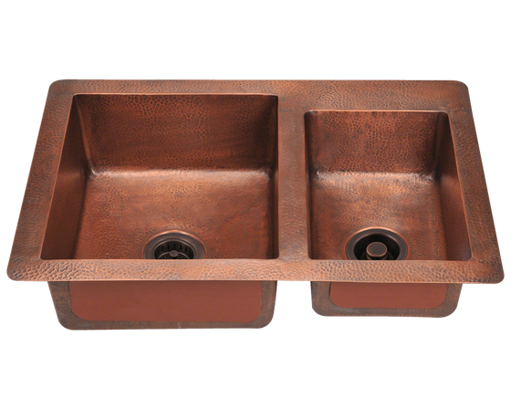Polaris Offset Double Bowl Under Mount Copper Sink P109 - Farmhouse Kitchen and Bath