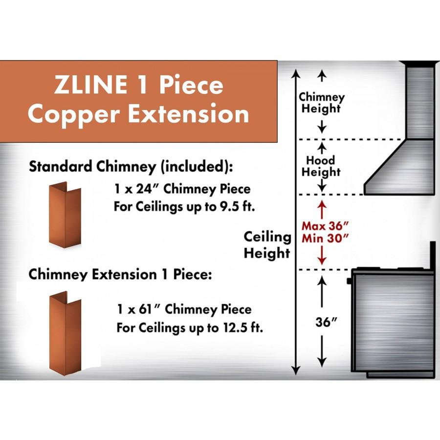 ZLINE 5' Chimney Extension for Ceilings up to 12.5', 8667C-E - Farmhouse Kitchen and Bath
