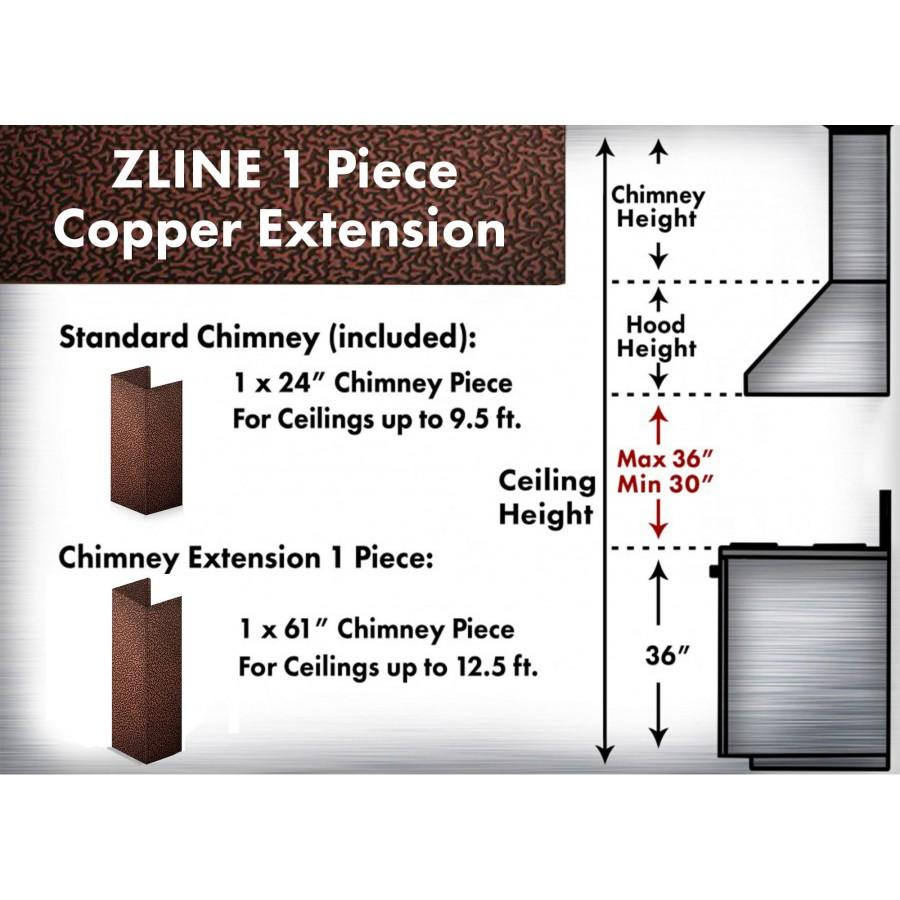 ZLINE 5' Chimney Extension for Ceilings up to 12.5', 8KBE-E - Farmhouse Kitchen and Bath