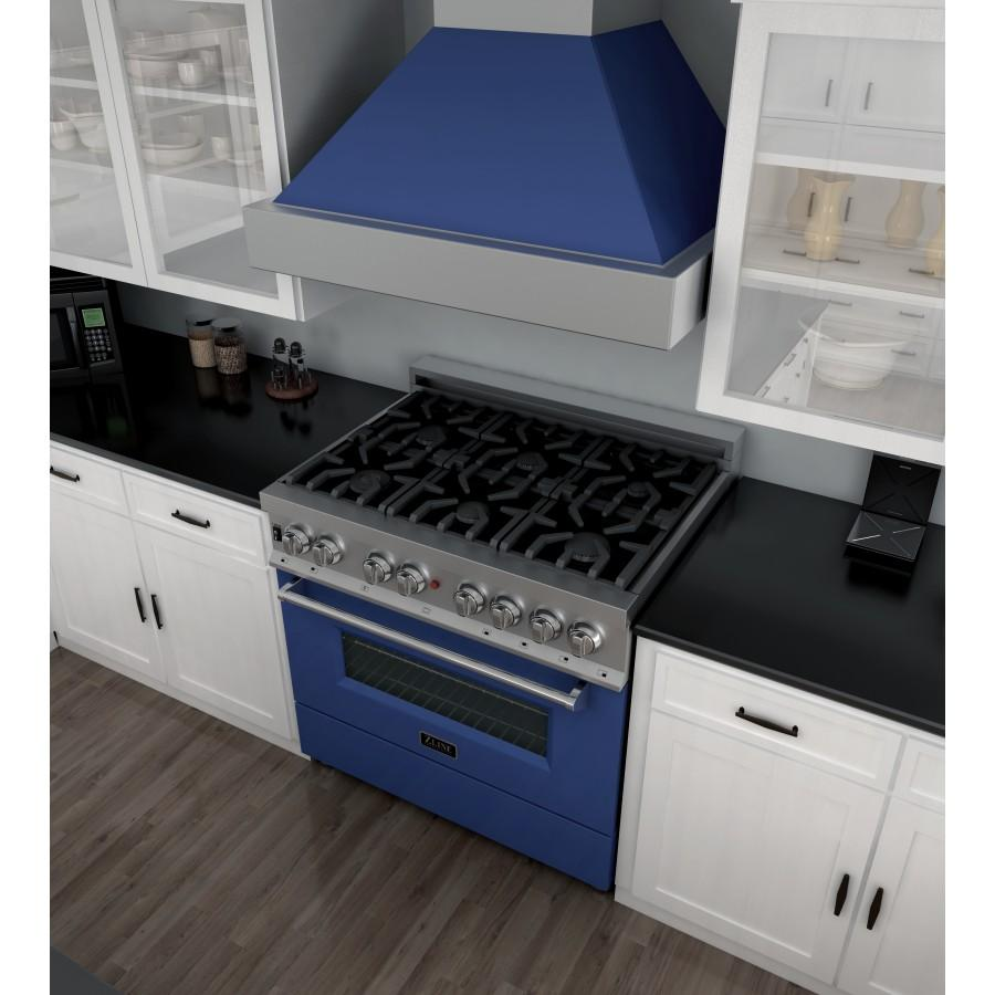 "ZLINE 36"" Professional Dual Fuel Range in Snow Stainless, Blue Gloss Door, RAS-BG-36 - Farmhouse Kitchen and Bath"
