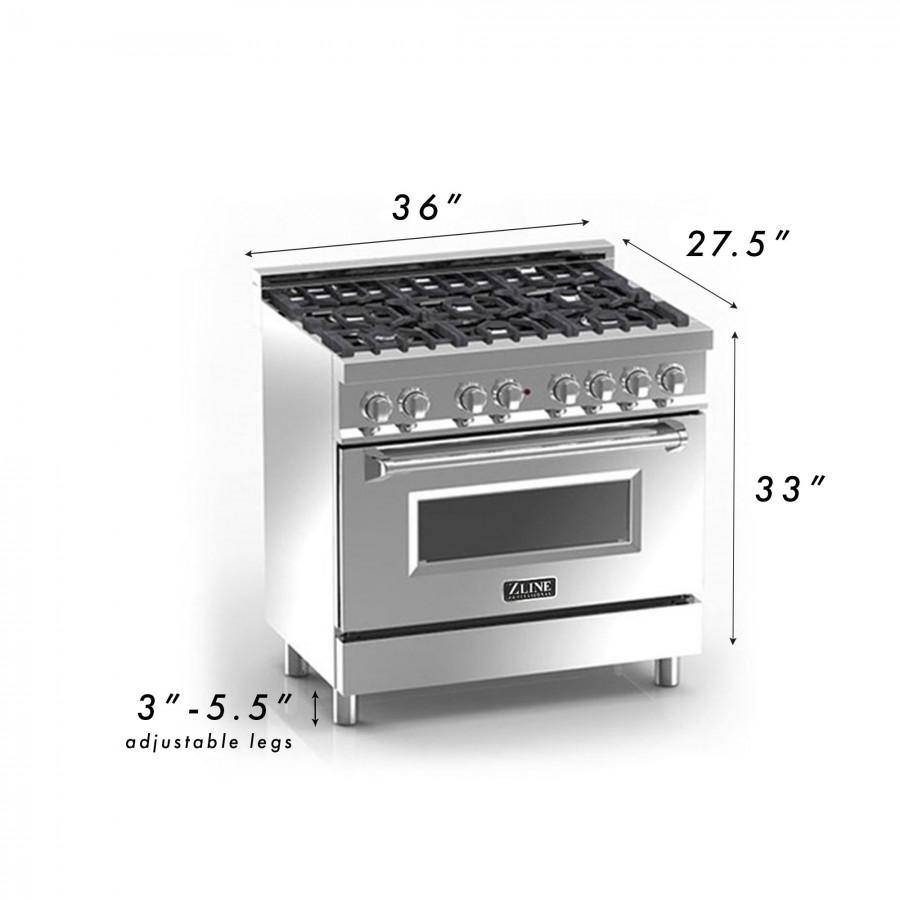 "ZLINE 36"" Professional Dual Fuel Range with Blue Gloss Door, RA-BG-36 - Farmhouse Kitchen and Bath"