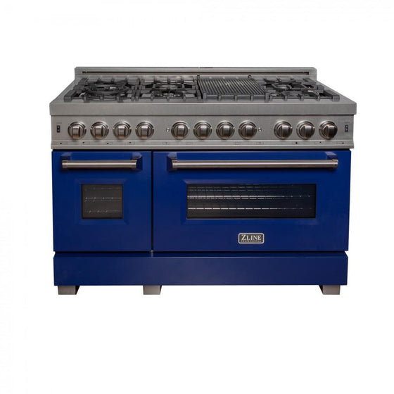 "ZLINE 48"" Dual Fuel Range in Snow Stainless, Blue Gloss Door, RAS-BG-48 - Farmhouse Kitchen and Bath"